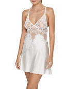 I.D. Sarrieri Bella Embroidered Lace Satin Chemise
