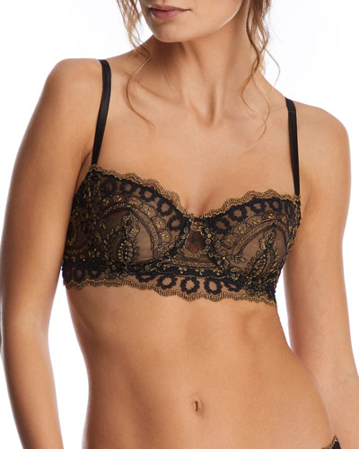 Golden Tulip Embroidered Balconette Bra