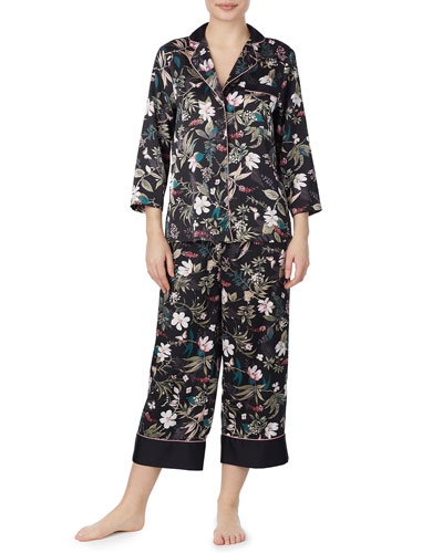 floral-print charmeuse cropped pajama set