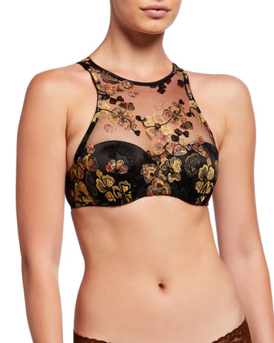 Midnight Delights Embroidered High-Neck Push-Up Bra