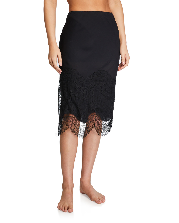Kiki De Montparnasse Skirts LACE-HEM SILK SLIP SKIRT