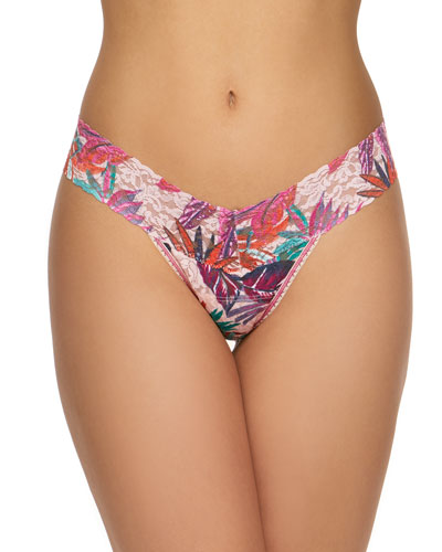 Floral-Print Lace Low-Rise Thong