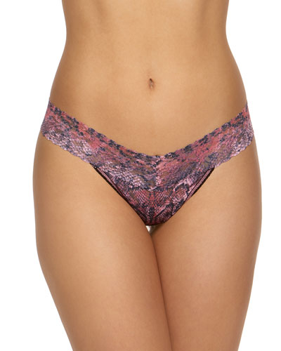 Printed Signature Lace Low-Rise Thong