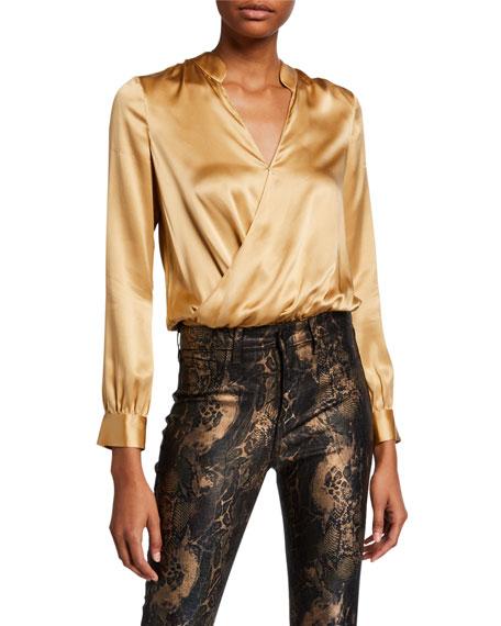 L'Agence Marcella Surplice Long-Sleeve Silk Charmeuse Bodysuit