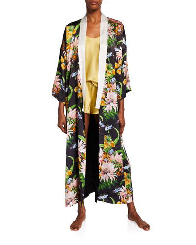 Queenie Tropicana Floral Long Silk Kimono Robe