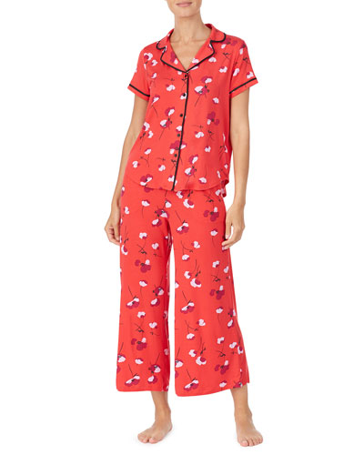 small poppies short-sleeve crop pajama set