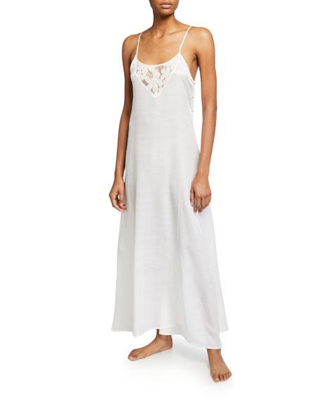 La Costa Del Algodon Misha Lace-Inset Long Nightgown