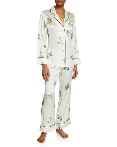 Lila Minelli Cactus-Print Classic Silk Pajama Set