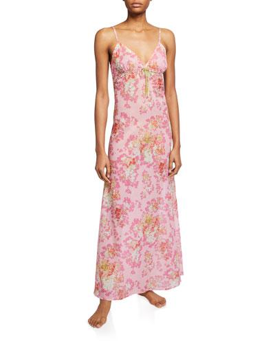 Saskia Long Floral-Print Nightgown