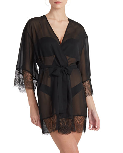 Lace-Trim Coverup Robe