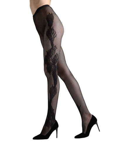 2-Pack Peacock Feather & Shimmer Sheer Tights
