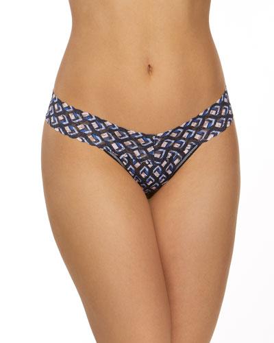 Diamond-Print Lace Low-Rise Thong