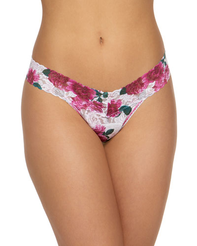 Rolled Floral Lace Low-Rise Thong