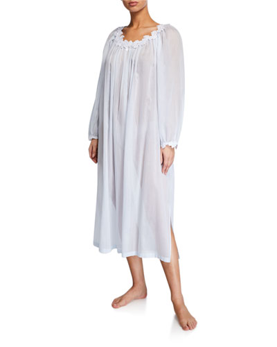 Palace Scoop-Neck Long-Sleeve Lace-Trim Nightgown