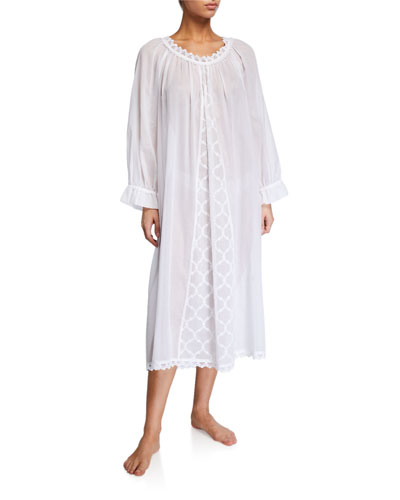 Elaine Scoop-Neck Long-Sleeve Nightgown