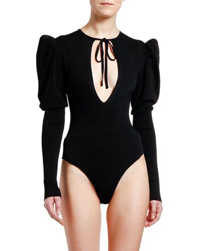 Puff-Sleeve Knit Keyhole Bodysuit