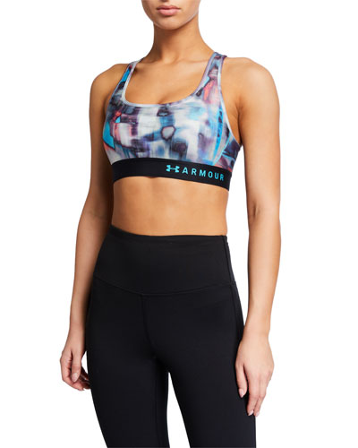 Armour Mid-Impact Crossback Printed Sports Bra