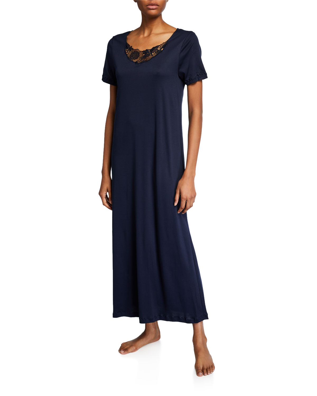 Hanro Shorts FLORA SHORT-SLEEVE NIGHTGOWN