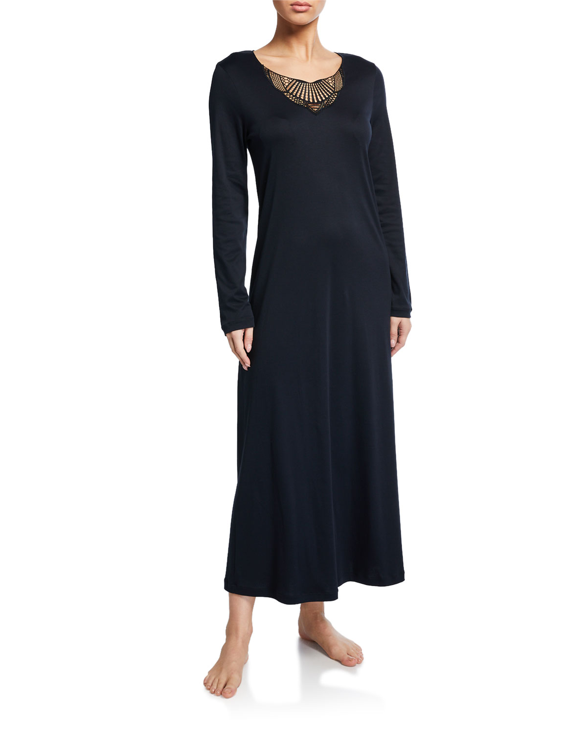 Hanro Tops ADINA LACE-INSET LONG NIGHTGOWN