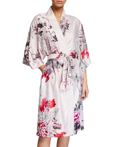 Nikko Floral-Print Satin Robe