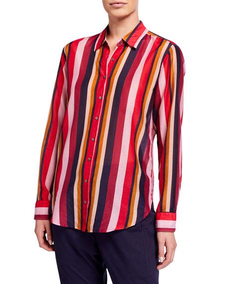 Xirena Beau Long-Sleeve Striped Lounge Shirt