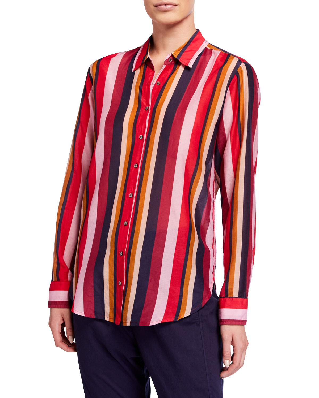 Xirena T-shirts BEAU LONG-SLEEVE STRIPED LOUNGE SHIRT