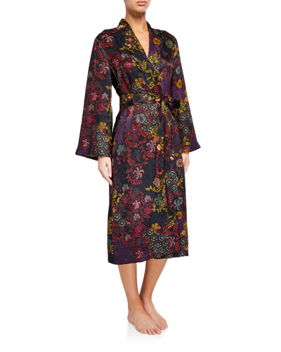 Vintage Floral Silk Robe