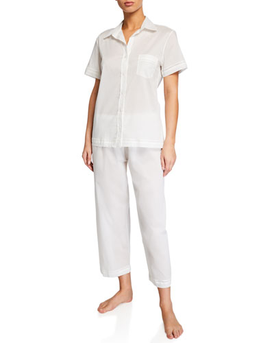Cotton Lawn Short-Sleeve Crop Pajama Set