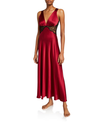 Bijou Lace-Trim Silk Nightgown