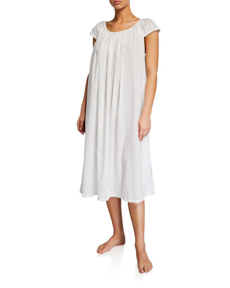 Pour Les Femmes Long Lawn Cap-Sleeve Nightgown