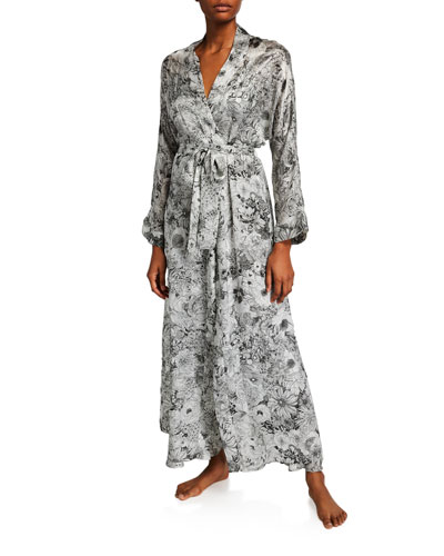 Arabella Floral-Print Long Robe