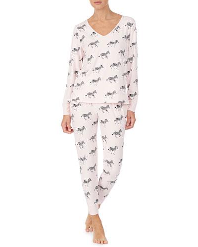 zebra dazzle long pajama set