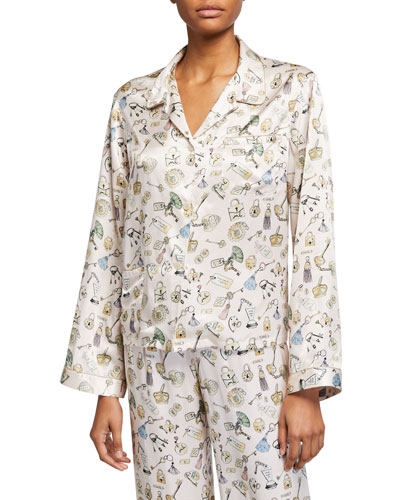 Ruthie Lock-Print Pajama Top