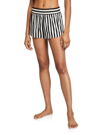 Morgan Lane Corey Mini Mask Striped Silk Shorts