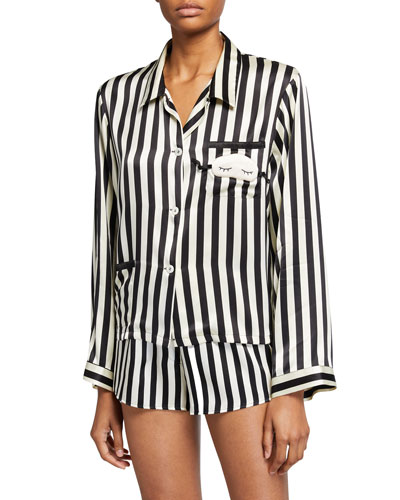 Ruthie Mini Mask Silk Pajama Top