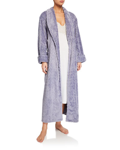 Geometric-Pattern Plush Robe