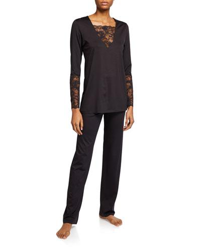 Sensual Lace-Inset Pajama Set