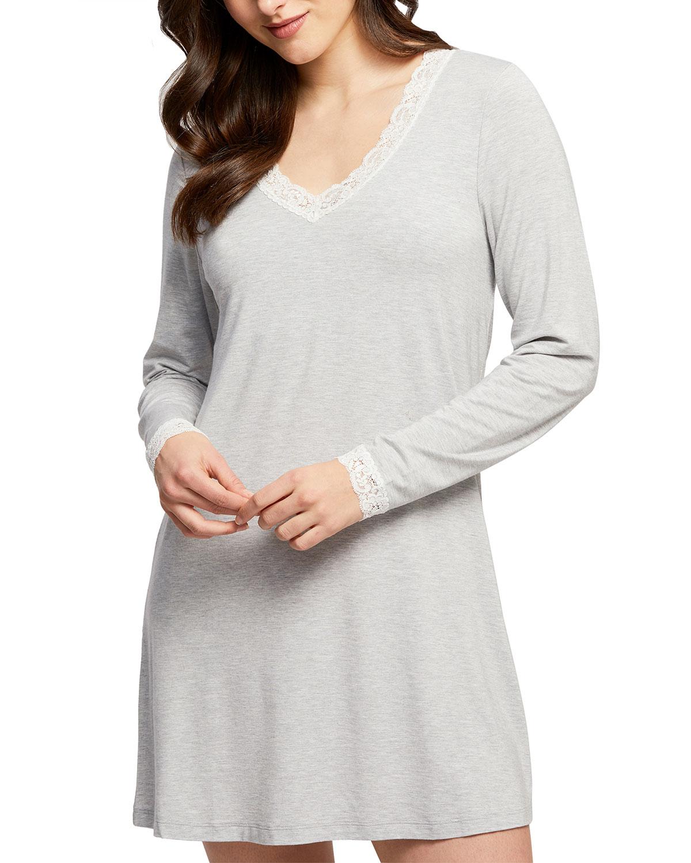 Lace-Trim Long-Sleeve Nightshirt