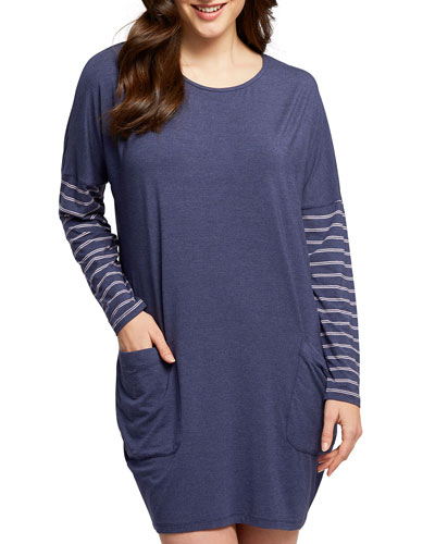 Dolman Striped-Sleeve Nightshirt