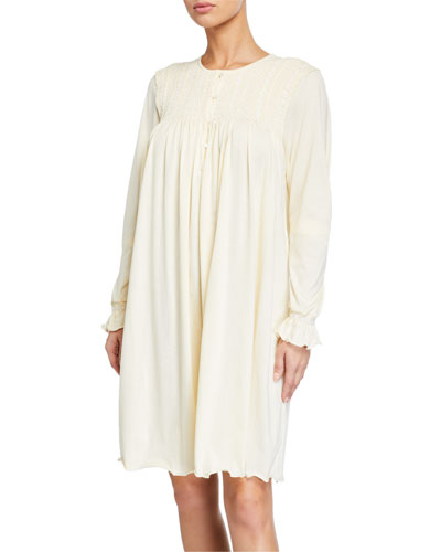 Merche Smocked-Yoke Nightgown
