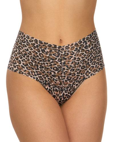 Leopard-Pattern Lace Retro Thong