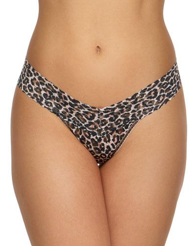 Leopard-Print Lace Low-Rise Thong