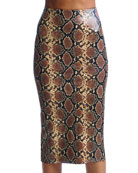 Commando Animal-Pattern Faux-Leather Midi Skirt