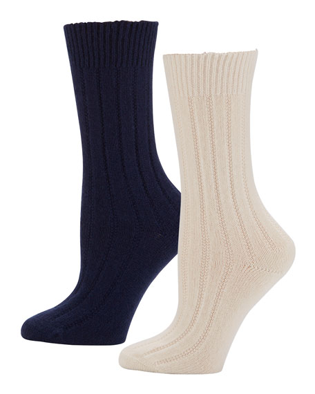 Neiman Marcus Cashmere Socks in Gift Box, 2 Pack