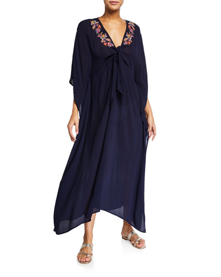 Johnny Was Gold Tie-Front Maxi Kaftan