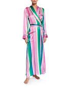Hesper Fox Ainsley Classic Long Striped Silk Robe