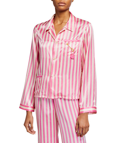 Ruthie Striped Silk Pajama Top