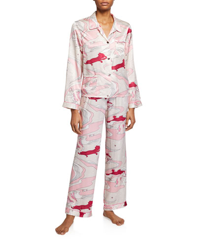 Ruthie Pattern Silk Pajama Top