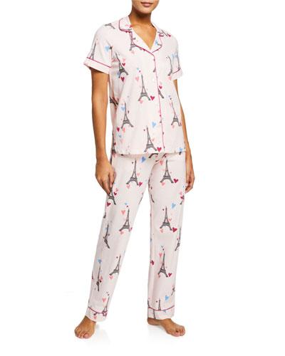 Eiffel Tower Short-Sleeve Classic Pajama Set