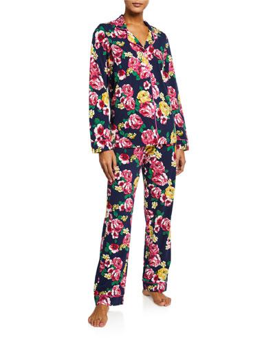 Plus Size Floral-Print Classic Pajama Set